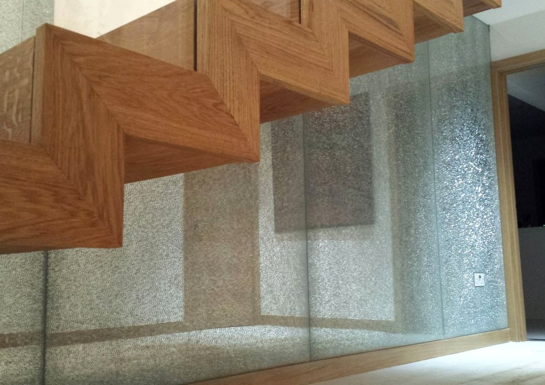Crackle Glass Stair Panels