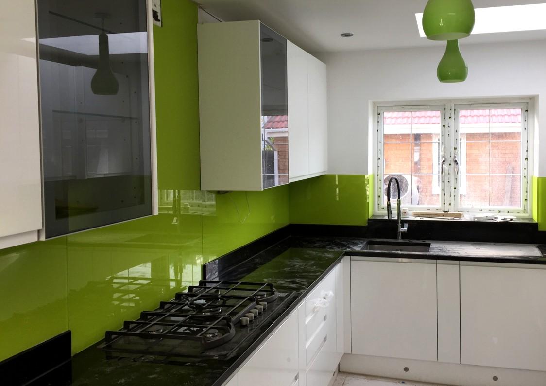 Lime Green Painted Glass Splashbacks