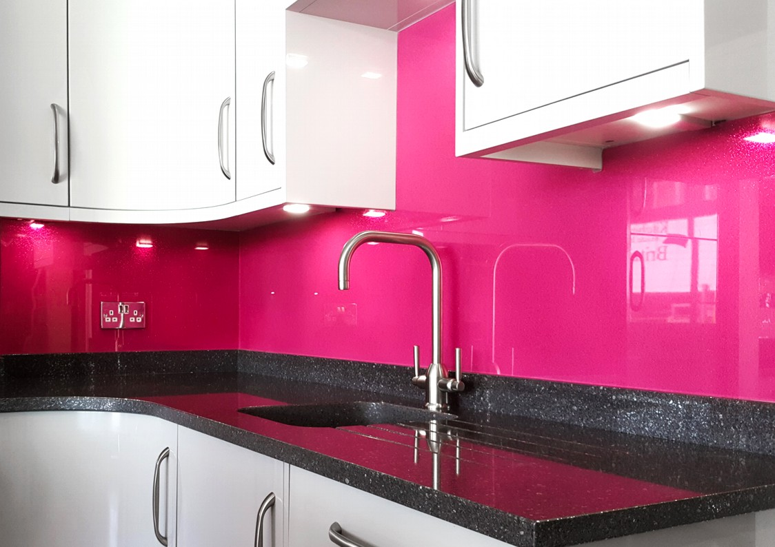 Pink Painted Glass Splashbacks