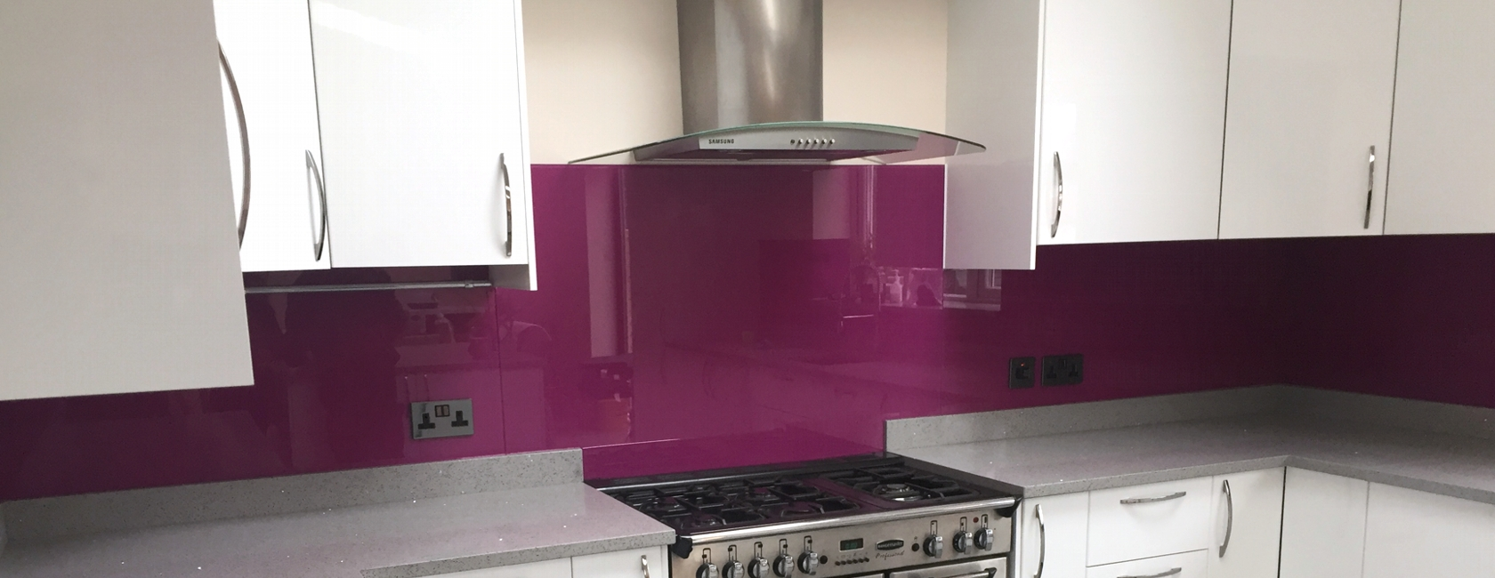 Plum Coloured Glass Splashbacks