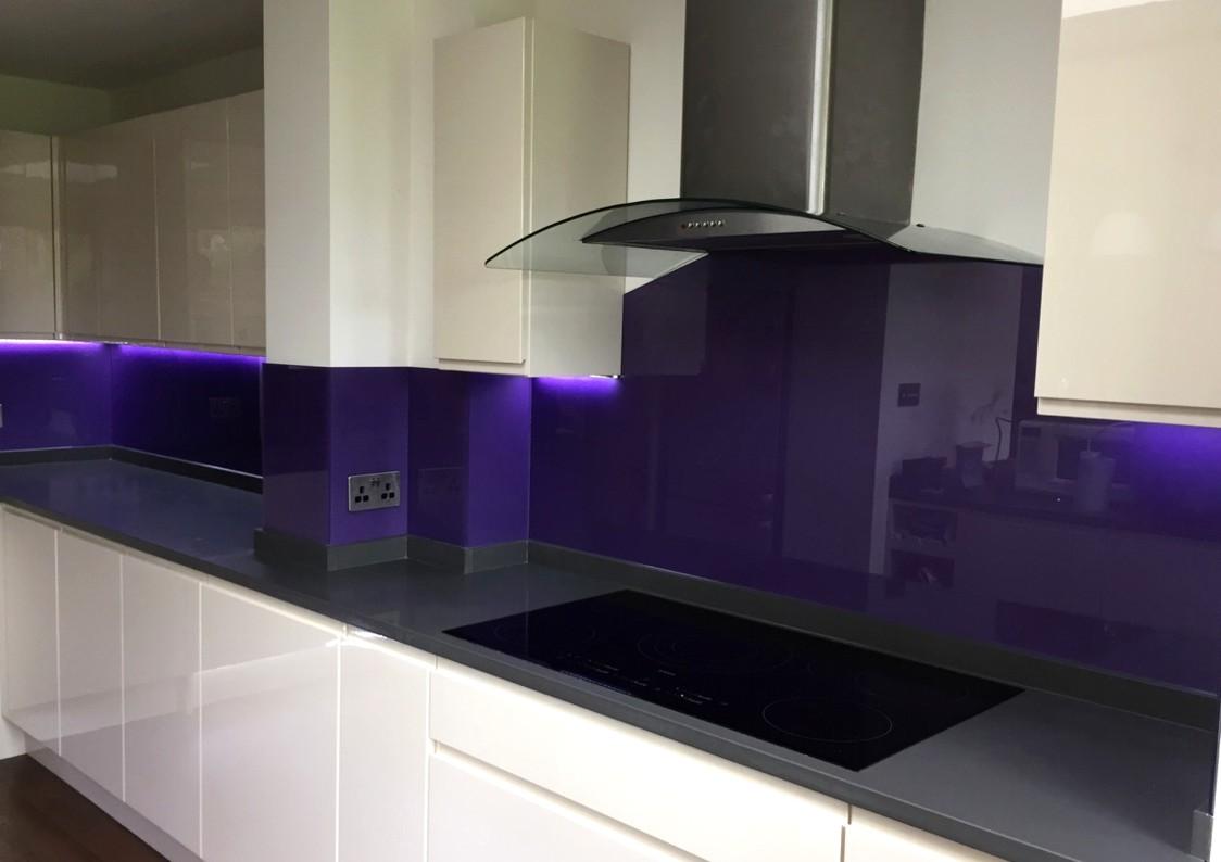 Purple Painted Glass Splashbacks