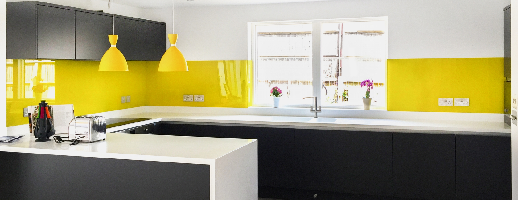 Yellow Painted Glass Splashbacks